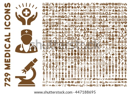 Medical Icon Collection with 729 glyph icons. Style is brown flat icons isolated on a white background.