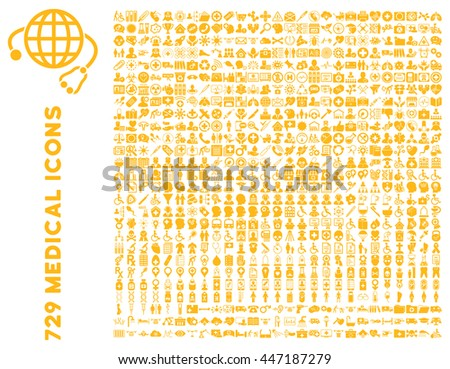 Medical Icon Collection with 729 glyph icons. Style is yellow flat icons isolated on a white background.