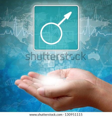 Medical icon Male in hand - stock photo