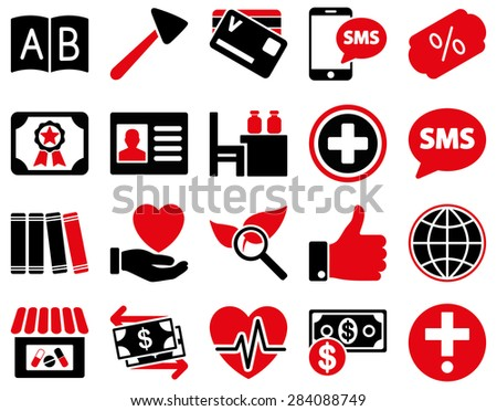 Medical icon set. Style: bicolor icons drawn with intensive red and black colors on a white background. - stock photo