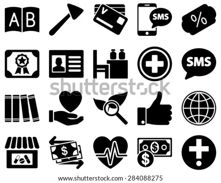 Medical icon set. Style: icons drawn with black color on a white background. - stock photo