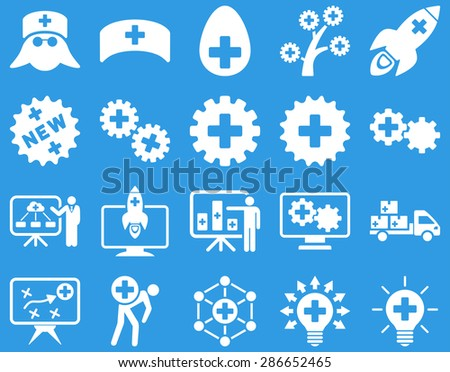 Medical icon set. Style: icons drawn with white color on a blue background.