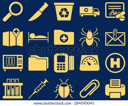 Medical icon set. Style: icons drawn with yellow color on a blue background.