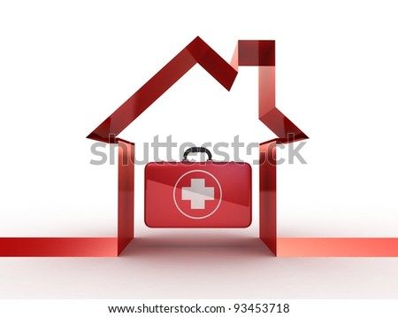 Medical icon with hospital, 3D image - stock photo