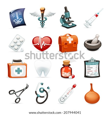 Medical Icons Set1.1. Isolated on White Background. Clipping paths included. - stock photo