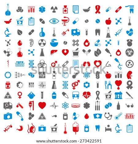Medical icons set, set of 144 medical and medicine signs. - stock photo