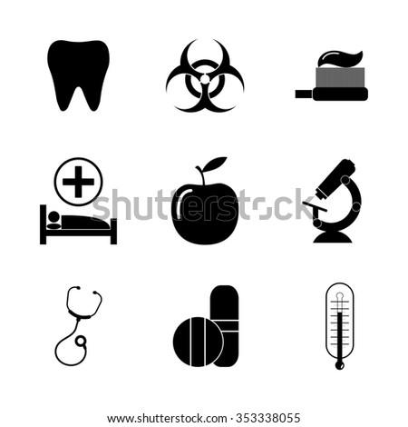 medical iconst. Flat design style  - stock photo