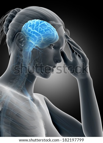 medical illustration of a woman having a headache - stock photo
