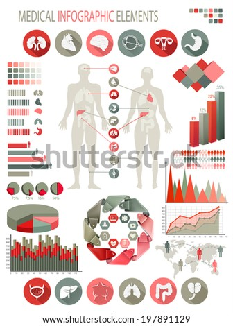 Medical infographics elements. Human body with internal organs - stock photo