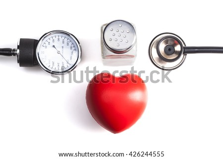 Medical Instrument Isolated on White Background with Salt and Red Heart - stock photo