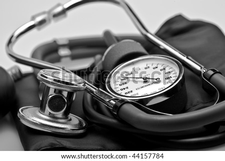 medical instrument stethoscope close up - stock photo