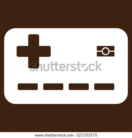 Medical Insurance Card raster icon. Style is flat symbol, white color, rounded angles, brown background.