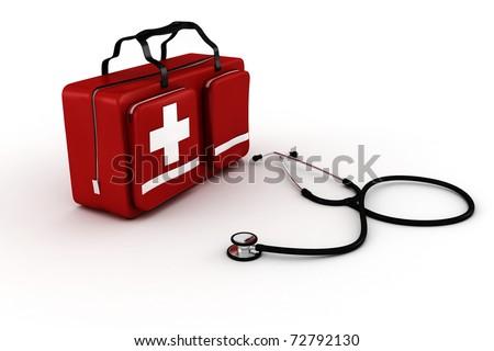 medical kit, isolated on white background - stock photo