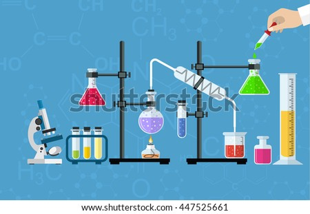 Medical Laboratory. Research, testing, studies in chemistry, physics, biology. laboratory equipment. Hands of doctor with pipette and test tube. Desktop research. flat design. Raster version