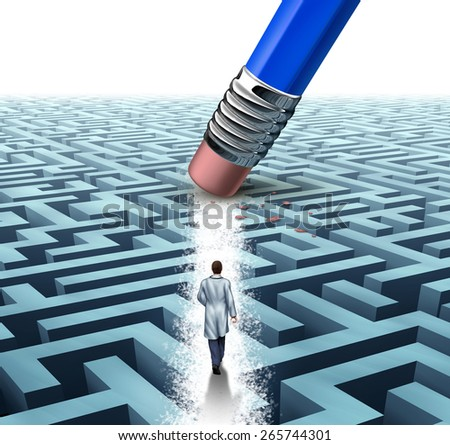 Medical leadership health care concept as a doctor or scientist walking through a maze erased by a pencil as a medicine metaphor for scientific discovery or breakthrough in health science technology. - stock photo