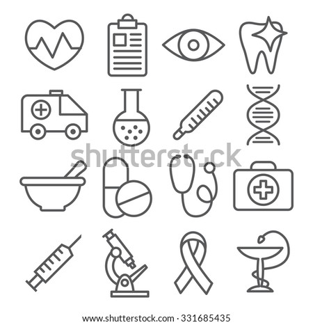 Medical Line Icons - stock photo