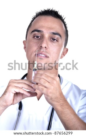 medical man with syringe on white background - stock photo