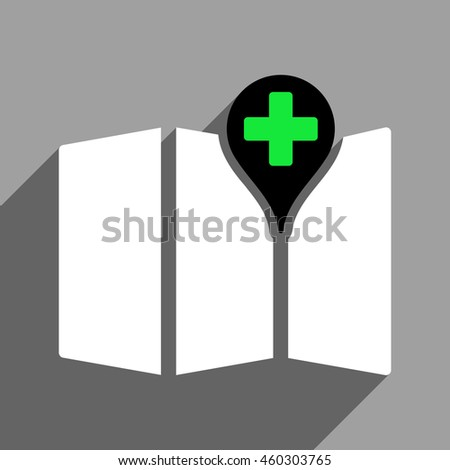 Medical Map long shadow icon. Style is a flat medical map black and white iconic symbol on a gray square background. - stock photo