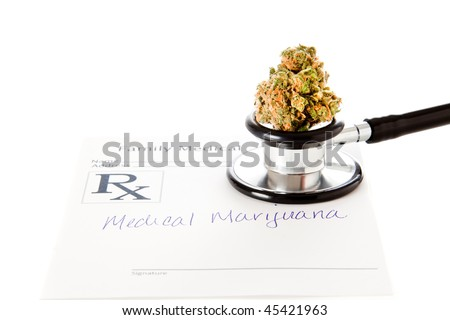 Medical Marijuana High Key - stock photo
