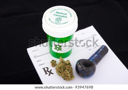 Medical marijuana prescription - stock photo