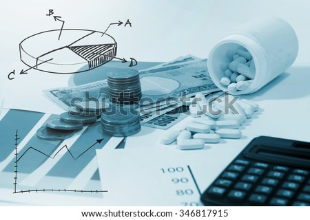 Medical marketing  and Healthcare business analysis report - stock photo
