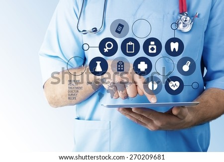 Medical. Medicine doctor working with modern tablet computer and virtual interface as medical concept - stock photo