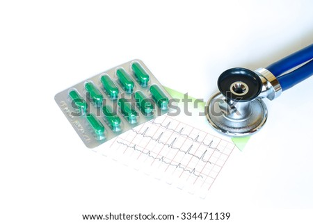 Medical, medicine stethoscope pills and electrocardiogram on blue background. Health care or illness. Tablet or drug in hospital or pharmacy. Cardiology heart treatment. Medication prescription  - stock photo