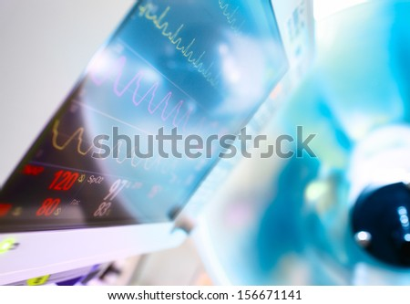 medical Monitor and surgical lamp - stock photo
