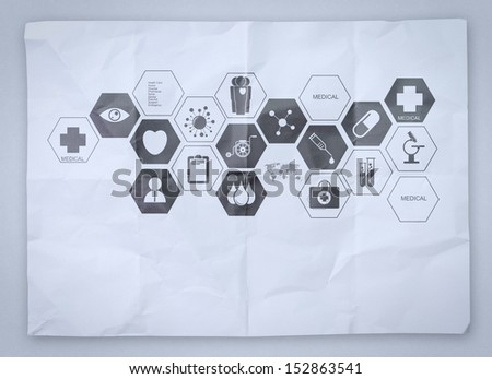 medical network on crumpled paper as concept - stock photo