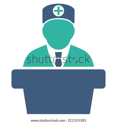 Medical Official Lecture glyph icon. Style is bicolor flat symbol, cobalt and cyan colors, rounded angles, white background.