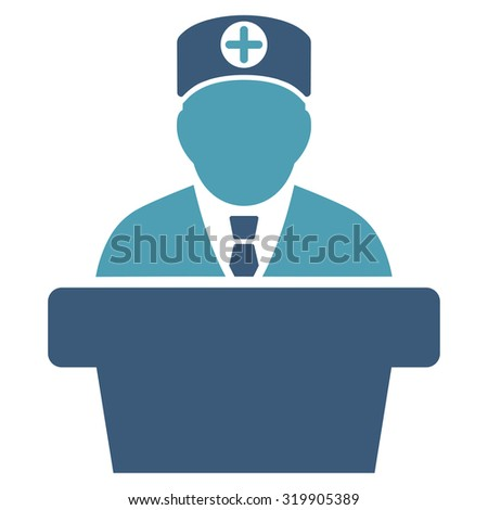 Medical Official Lecture raster icon. Style is bicolor flat symbol, cyan and blue colors, rounded angles, white background.