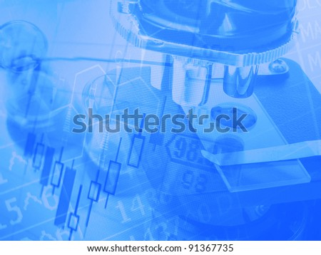 Medical or chemistry science background with microscope - stock photo