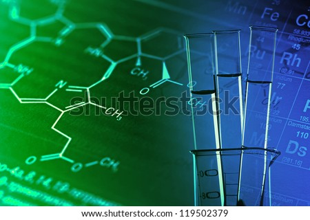 Medical or science background with laboratory tools. - stock photo