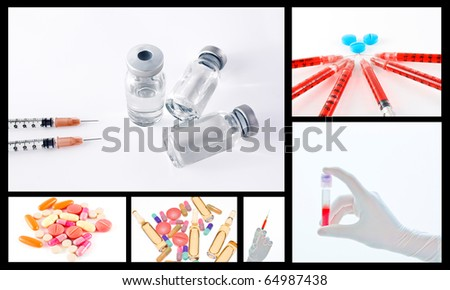 Medical or surgical drug collage concept with syringe tablets vials and pills
