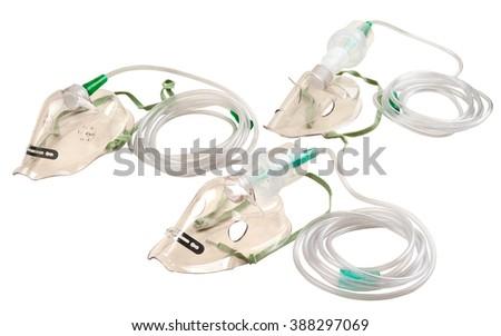 medical oxygen mask isolated over a white background. Set  - stock photo