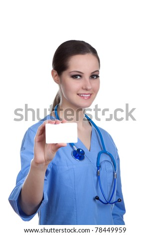 Medical person: Nurse / young doctor portrait. Confident medical professional isolated on white background. Young pretty Caucasian female model holds a blank card. Smiling nurse with stethoscope. - stock photo