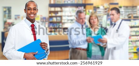 Medical physician doctor man and group of business people. - stock photo