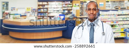 Medical physician doctor man over pharmacy background. - stock photo