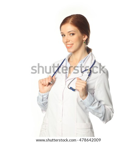 Medical physician doctor woman. Portrait of young woman doctor with white coat on a white background