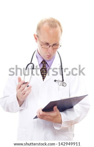Medical physician looking blank on his clipboard - stock photo