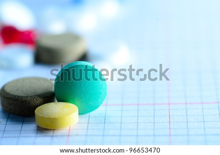 medical pill tablet background isolated