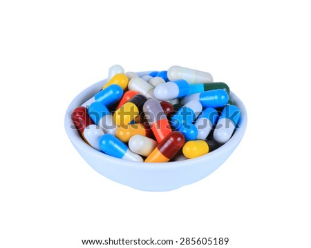 Medical pill tablet isolated on white background
