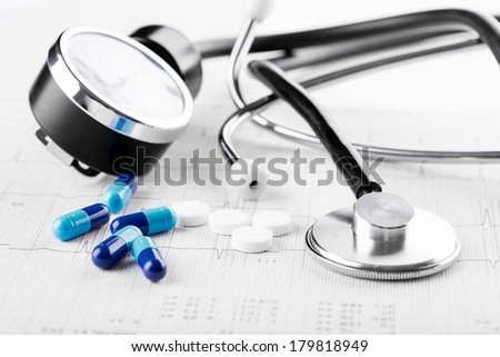medical pills and stethoscope on the medical claim form