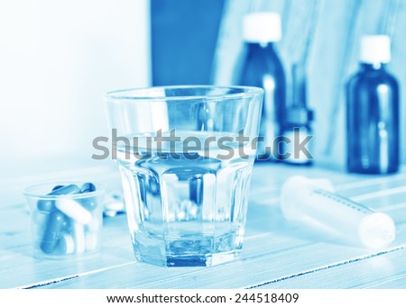 medical pills and water on the table
