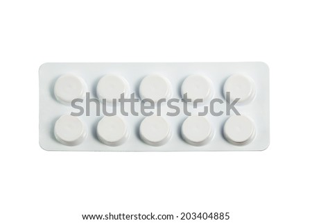 Medical pills in medical blister packs isolated on white background with work path - stock photo