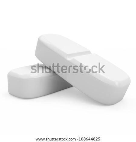 Medical Pills isolated on white background - stock photo
