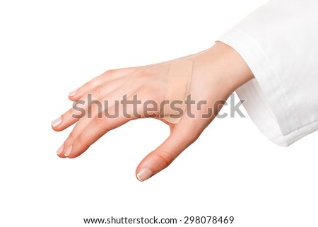 Medical plaster first aid plaster advertising - stock photo