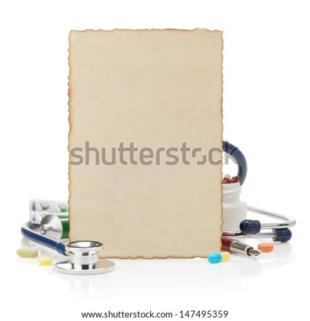 medical prescription isolated on white background - stock photo