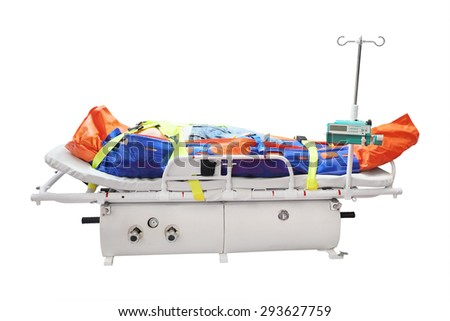 Medical reanimation equipment for helicopters - stock photo