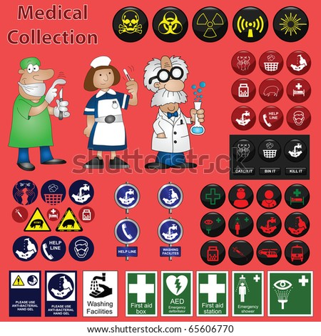 Medical related graphic collection including icons and cartoons - stock photo